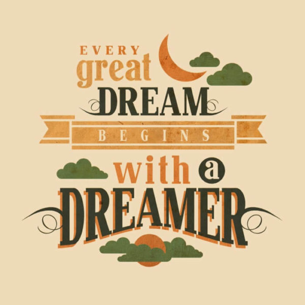 """24 Hour Tees - Dreamer on a Soft Cream Background"""